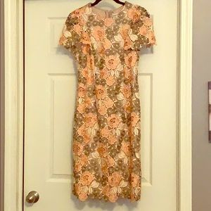 Calvin Klein Dress with Peach/ Ivory/sage roses.